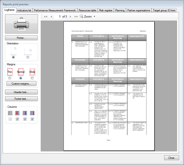 Reports print preview dialog