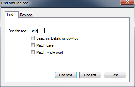 The new Find dialog in Logframer 1.1