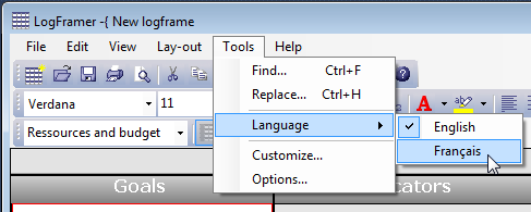 Change the language using the Tools option in the main menu