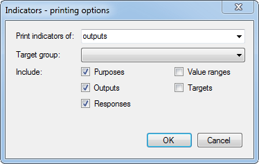 Indicators printing options dialog box