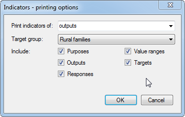 Printing options - select target group