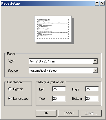 Page set-up dialog box
