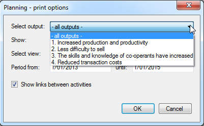 Printing options - select output