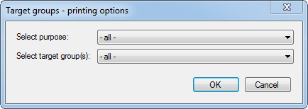 Target group identification form dialog box