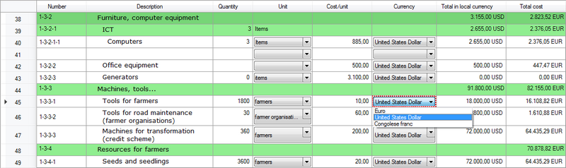 Selecting a currency for the cost per unit