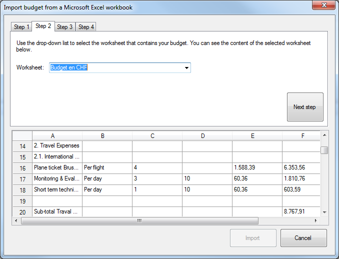 Import budget from Excel - step 2