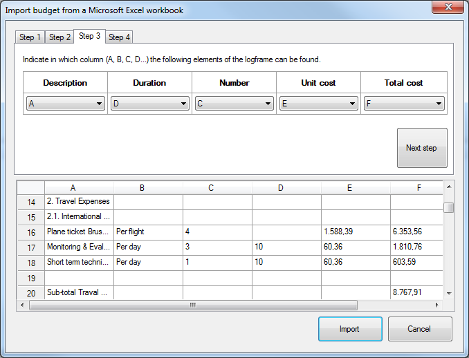 Import budget from Excel - step 3