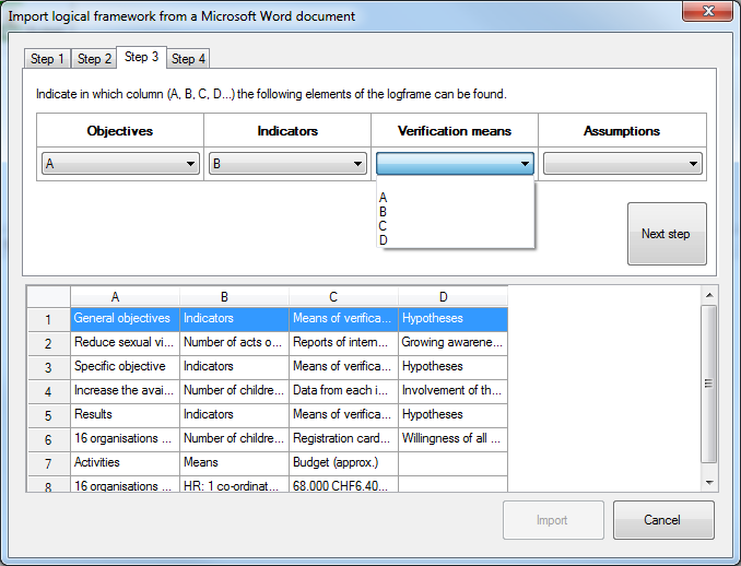 Import logframe from Word - step 3