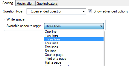 Setting the available space to answer for an open-ended question