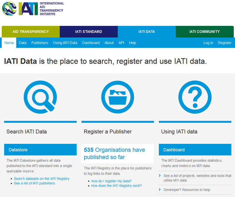The Data section on the IATI website