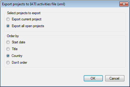 Exporting multiple projects into a single IATI activity file