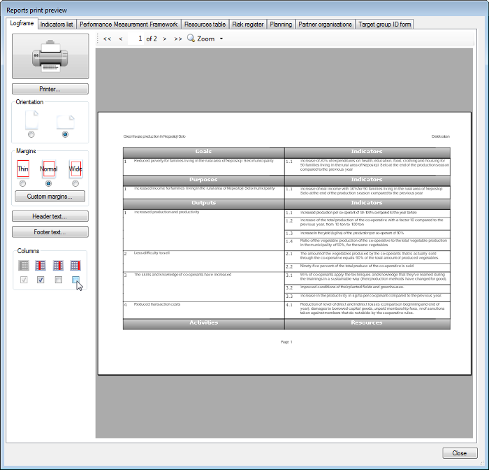 Print preview of a logical framework with two columns