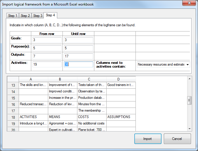 Importing a logframe made in Microsoft Excel