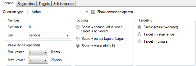 The Scoring tab of the Indicator detail pane