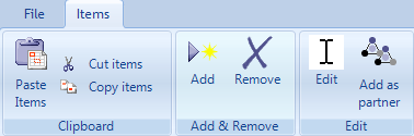 The Items toolbar of the My organisation dialogue